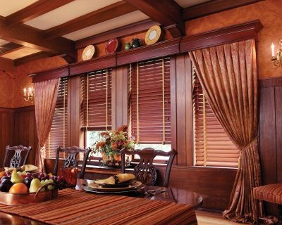 Wood blinds with wood cornice and drapery panels