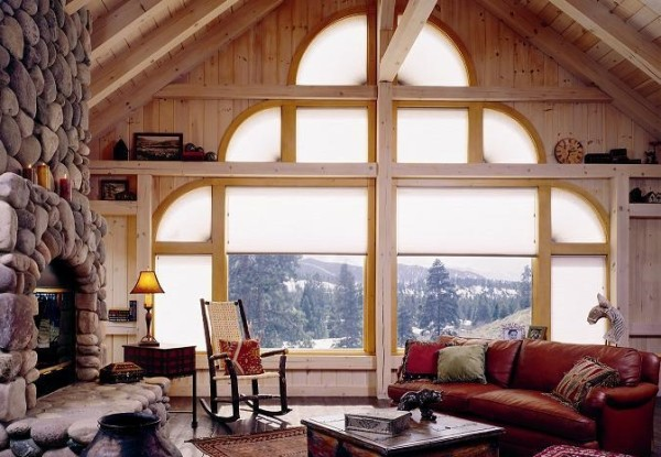 Flagstaff mountain cabin with Duette honeycomb shades.