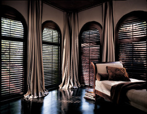 Wood shutters with arch top